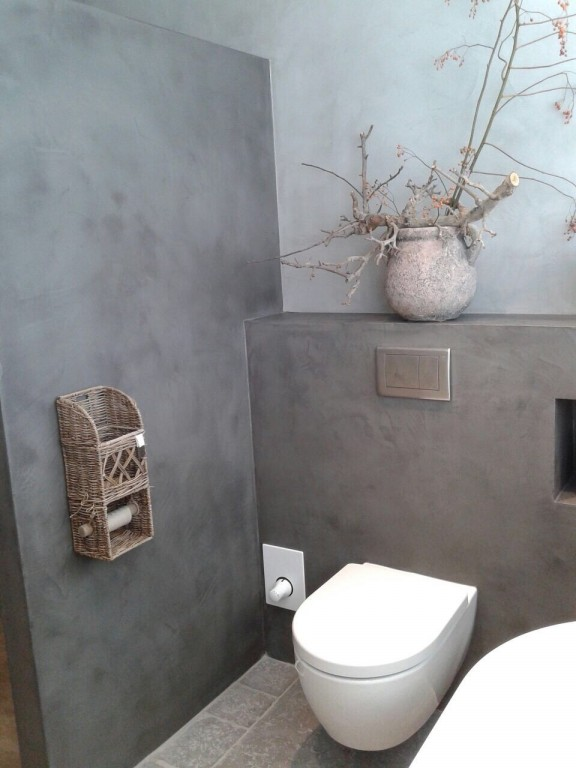 Badkamer afgewerkt met beal mortex betonlook - Stuc Ydee Stucadoor ...